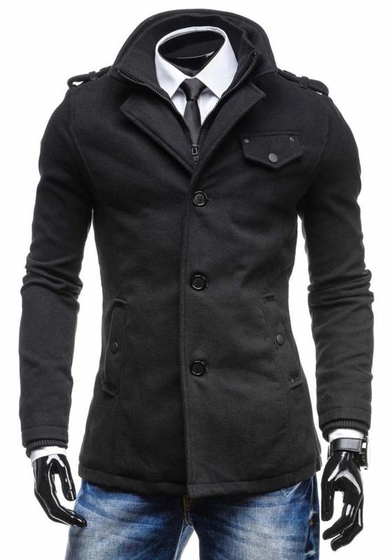 Мужское пальто черное Bolf 8853C