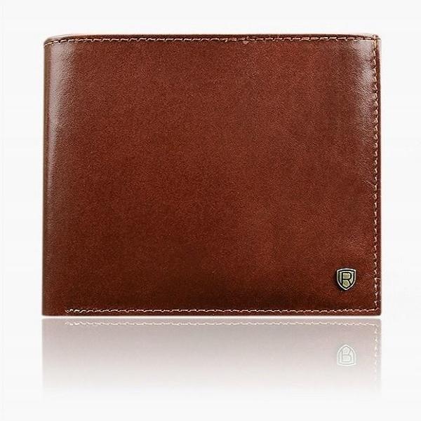 Мужской кожаный кошелек коричневый 918