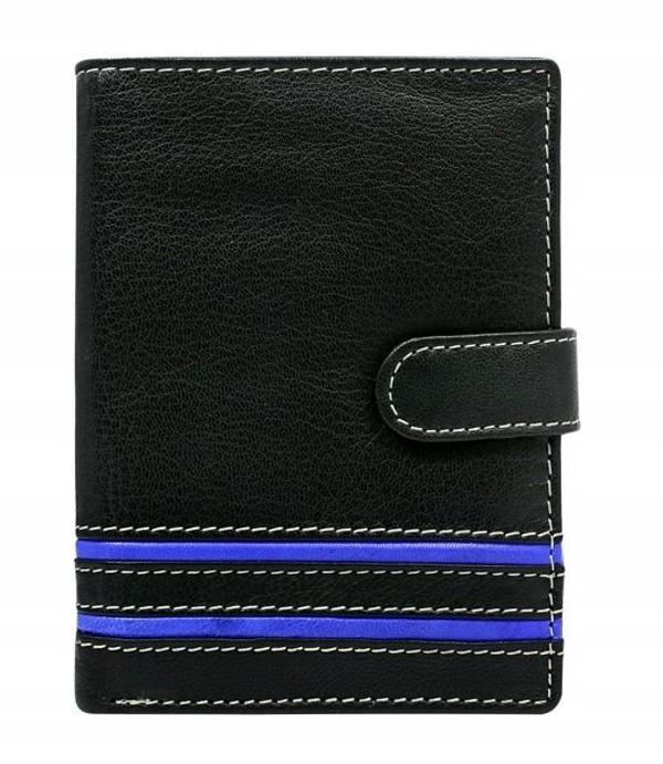Мужской кожаный кошелек синий 596