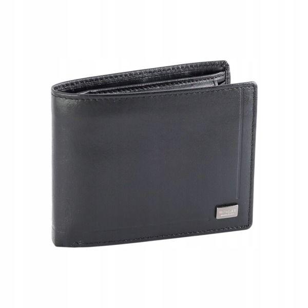 Мужской кожаный кошелек черный 345