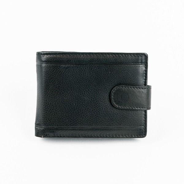 Мужской кожаный кошелек черный 878
