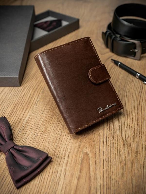 Мужской кошелек кожаный коричневый 1683