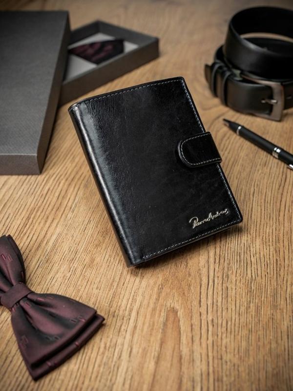 Мужской кошелек кожаный черный 1687