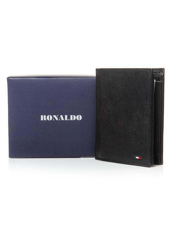 Мужской кошелек кожаный черный 3079