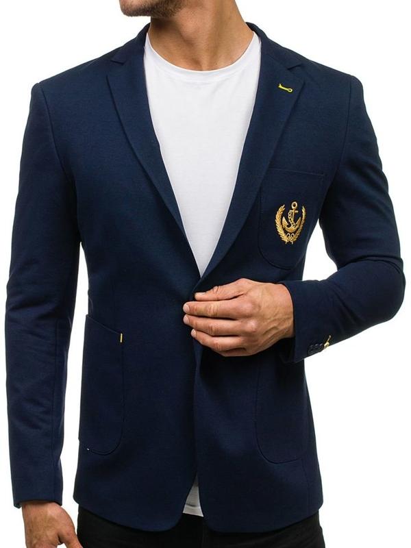 Мужской элегантный пиджак темно-синий Bolf P10