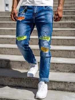 Темно-синие мужские джинсовые брюки Slim fit Bolf 85002s0