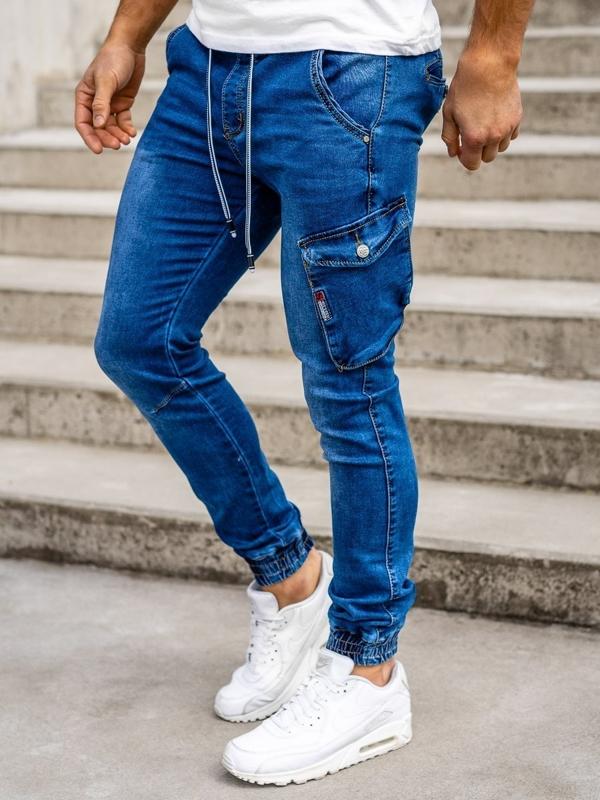Темно-синие мужские джинсовые джоггеры Bolf KA736-2