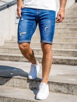 Темно-синие мужские джинсовые шорты Bolf KG3606