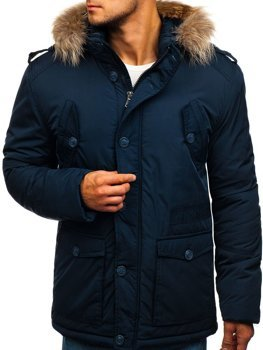 Темно-синяя мужская зимняя куртка Bolf 1633