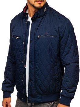 Темно-синяя мужская стеганая демисезонная куртка-бомбер Bolf 2054