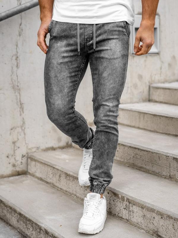 Черные мужские джинсы джоггеры Bolf KA1322-1