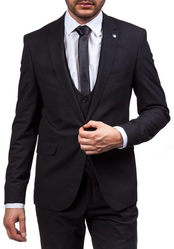 Черный мужской костюм Bolf 5005-1