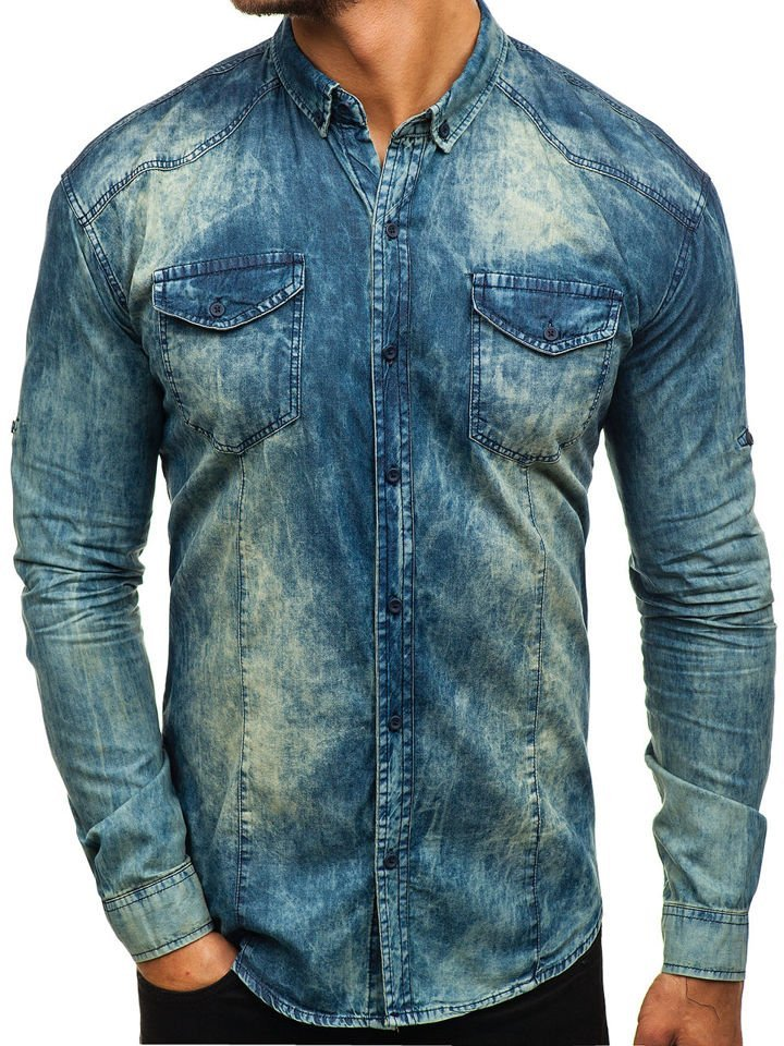 242f28989c3 Мужская джинсовая рубашка с длинным рукавом темно-сине-серая Bolf 0895 ...