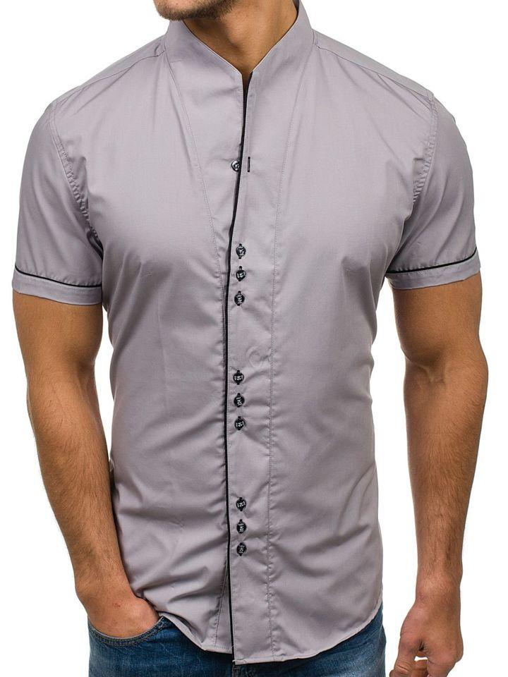 4022798b6 Мужская рубашка с коротким рукавом серая Bolf 5518 SZARY
