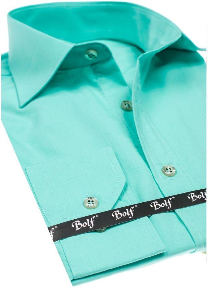 e68f17efd619617 ... Светло-зеленая мужская элегантная рубашка с длинным рукавом Bolf 1703  ...