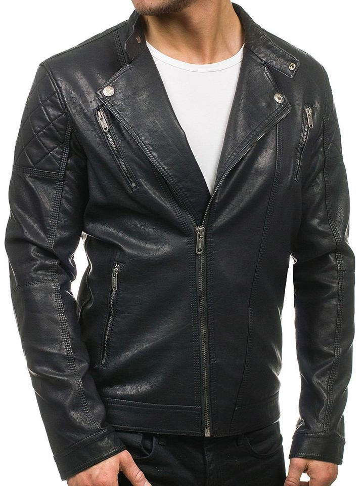 9f1ba3310a4 ... Черная мужская кожаная куртка Bolf EX389 ...