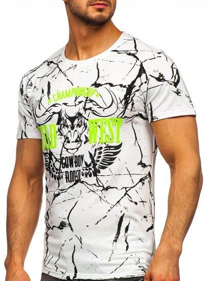 Белая мужская футболка с принтом Bolf Y70026