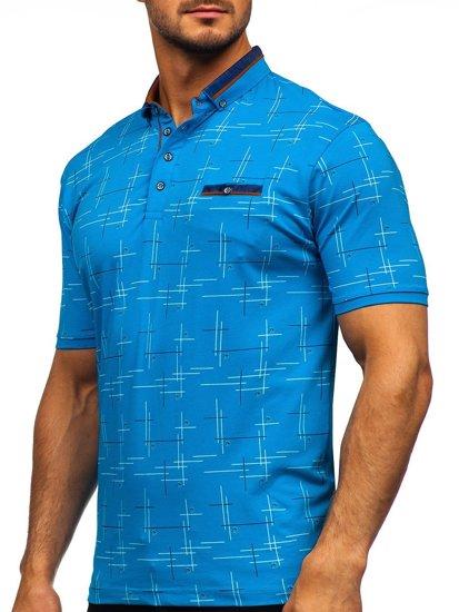 Бирюзовая мужская футболка поло с принтом Bolf 192232