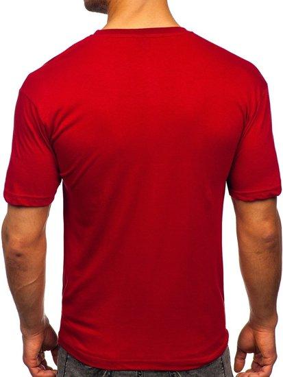 Бордовая мужская футболка с принтом Bolf 14424