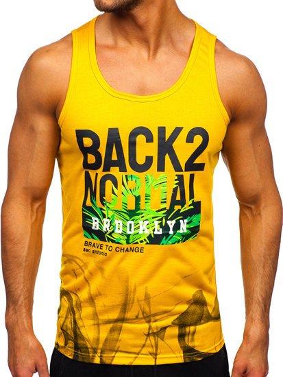 Желтая футболка танк топ с принтом Bolf HY813