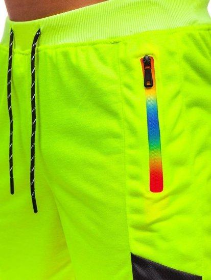 Желто-неоновые мужские спортивные шорты Bolf KS2559