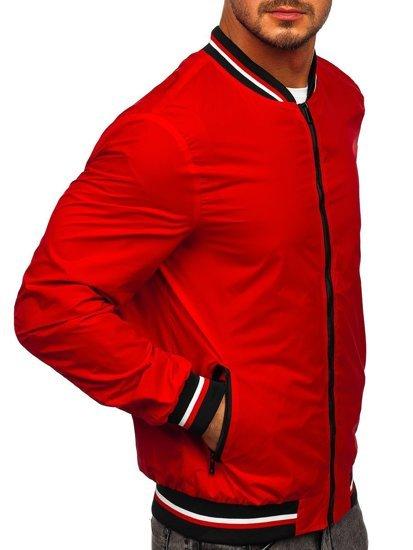 Красная мужская демисезонная куртка бомбер Bolf M10290
