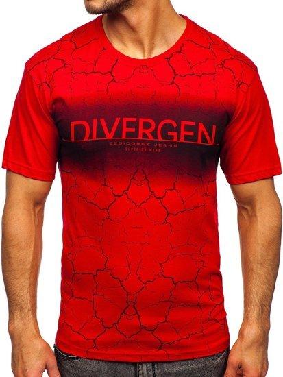 Красная мужская футболка с принтом Bolf 14424