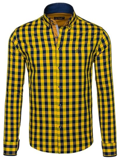 Мужская рубашка в клетку с длинным рукавом желтая Bolf 4701