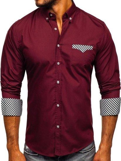 Мужская рубашка элегантная с длинным рукавом бордовая Bolf 4711
