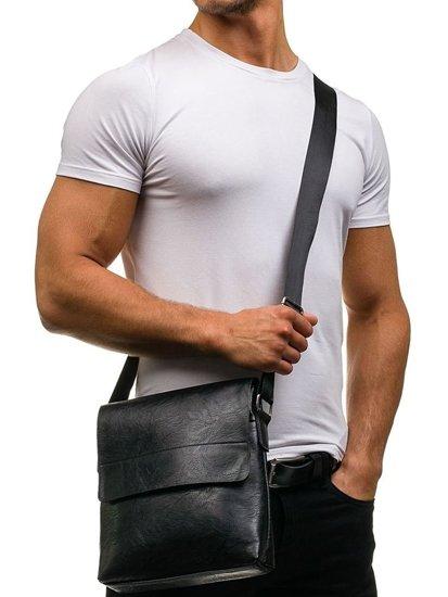 Мужская сумка почтальонка через плечо черная Bolf 661
