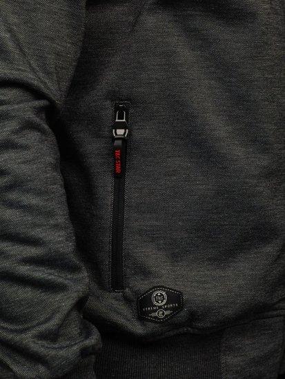 Мужская толстовка с капюшоном на застежке черная Bolf 2084
