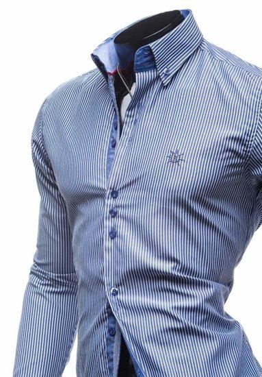 Мужская элегантная полосатая рубашка с длинным рукавом темно-синяя Bolf 4789