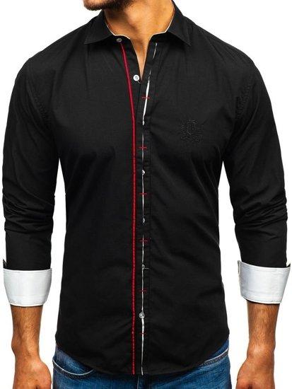Мужская элегантная рубашка с длинным рукавом черная Bolf 1769