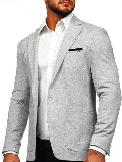 Мужской элегантный пиджак серый Bolf 1652