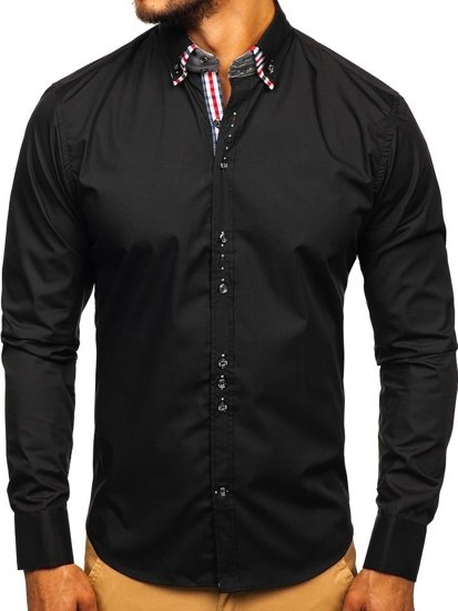 Рубашка мужская элегантная с длинным рукавом черная Bolf 0926