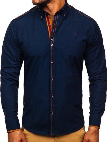 Рубашка мужская BOLF 4707 темно-синяя