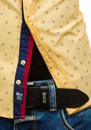 Рубашка мужская BOLF 6886 желтая