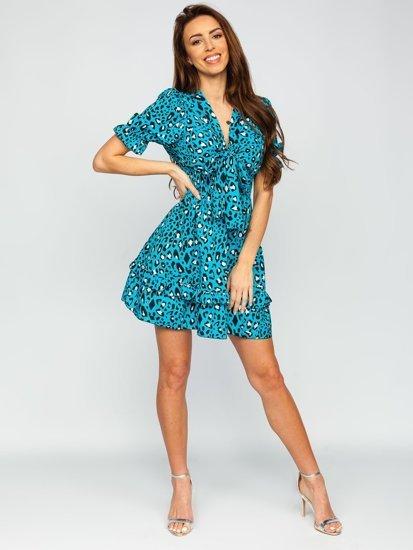 Синие платье женское с леопардовым принтом Bolf 6986