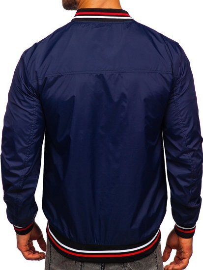 Темно-синяя мужская демисезонная куртка бомбер Bolf M10289