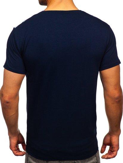 Темно-синяя мужская футболка с принтом Bolf Y70006
