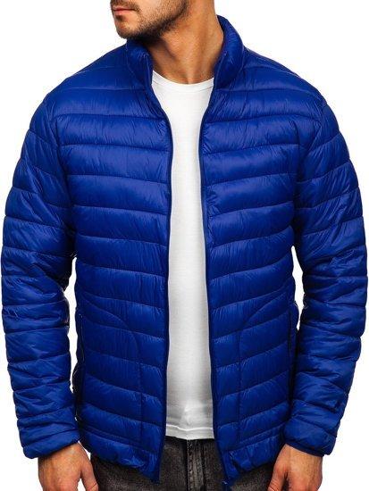 Темно-синяя стеганая демисезонная мужская куртка Bolf 13007