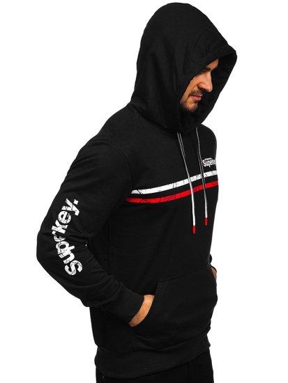 Черная мужская толстовка с капюшоном с принтом Bolf JX9867