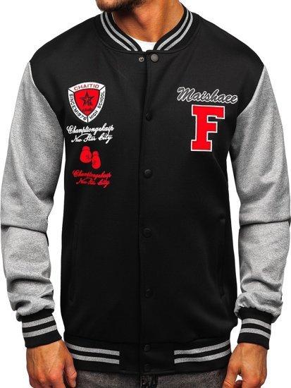 Черная толстовка-куртка мужская тонкая бейсбольная с принтом Bolf B10160