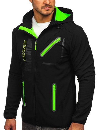Черно-зеленая мужская куртка софтшелл Bolf HH023