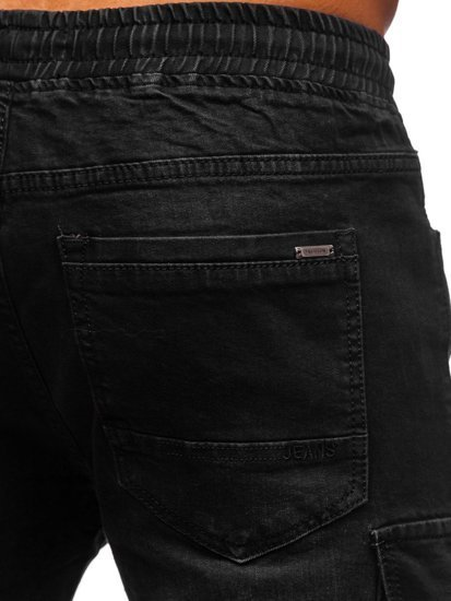 Черные джинсы джоггеры-карго мужские Bolf 8871