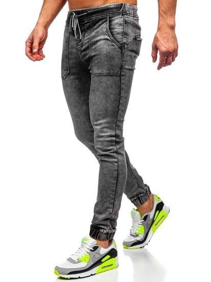 Черные мужские джинсы джоггеры Bolf KA1860
