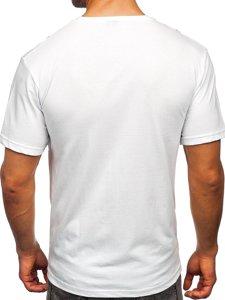 Белая мужская футболка с принтом Bolf 14424