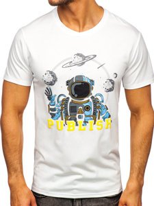 Белая мужская футболка с принтом Bolf S10026