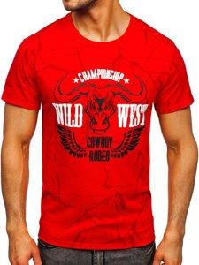Красная мужская футболка с принтом Bolf Y70026