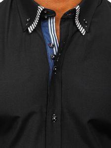 Мужская рубашка с коротким рукавом черная Bolf 2911